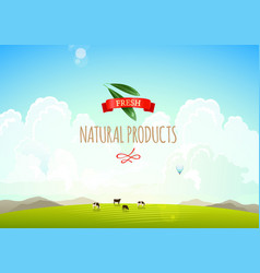 Nature landscape with hills clouds and moutains vector image