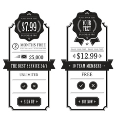 outlined price tables vector image vector image