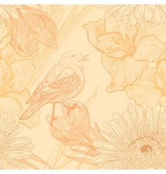Seamless background with handdrawn birds and vector image