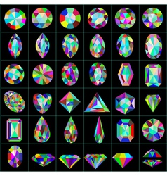 set of precious and artificial stones of different vector image vector image