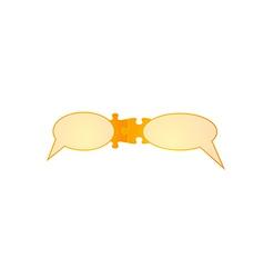 speak bubbles and puzzle pieces vector image vector image