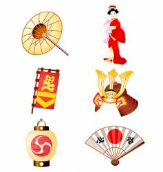 symbols of japan culture vector image vector image