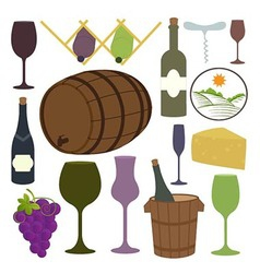 Vintage Wine Icons Collection vector image vector image