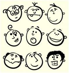 cartoon face collection vector image
