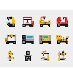 Conveyor units and machines flat icons vector image vector image