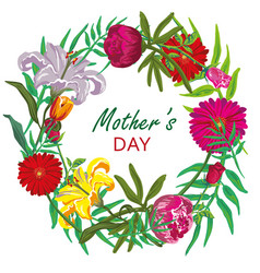 floral round frame card design mother day vector image vector image