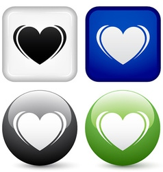 heart buttons vector image vector image