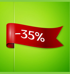 red ribbon with text thirty five percent discount vector image