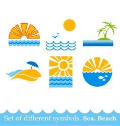 set of signs sea beach image vector image vector image