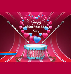 valentine day card with drum realistic vector image vector image