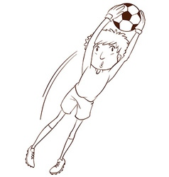 A simple sketch of a soccer player vector image