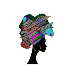 African wedding hairstyle colorful afro head wrap vector