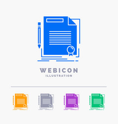 Agreement contract deal document paper 5 color vector