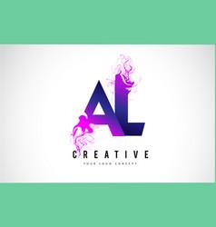 Al a l purple letter logo design with liquid vector