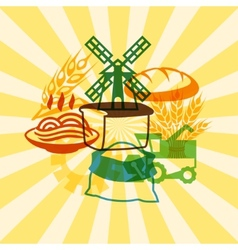 Background with agricultural objects vector image