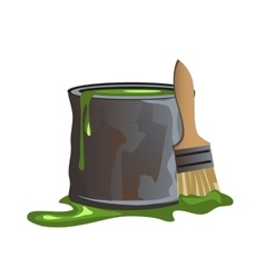 Bucket of green paint and molar brush vector
