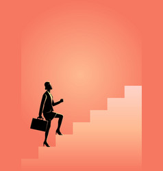Businesswoman stepping on stairs vector