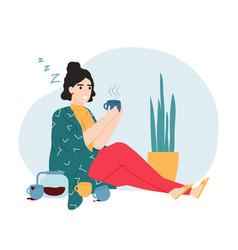 Caffeine addiction sleepy and tired woman with vector