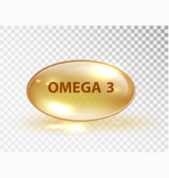 capsule with omega 3 vitamin capsule oil bubble vector image