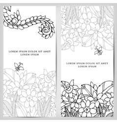 card with floral banners vector image