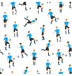 cartoon football players seamless pattern vector image
