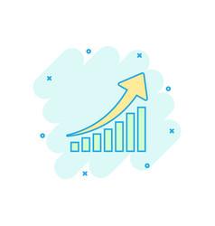 Cartoon growth chart icon in comic style grow vector