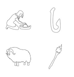 Cattle catch hook fishing stone age set vector