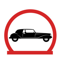 Circular emblem with classic car vector