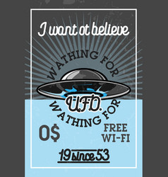 Color vintage ufo banner vector