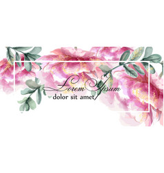 colorful peony flowers watercolor banner vector image
