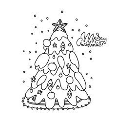 coloring page of a decorated christmas tree vector image