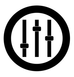 control panel icon black color in circle vector image