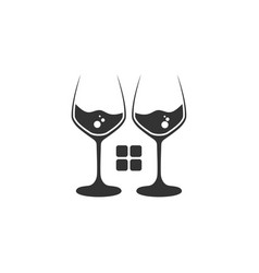 Couple glass with negative space house vector