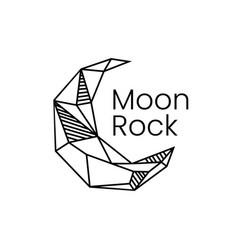 crescent moon rock stone gem logo icon vector image