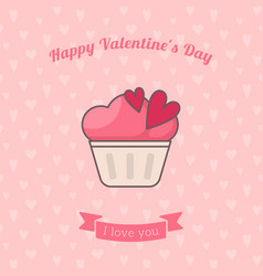Cupcake decorated with hearts vector