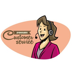 Customer sevice girl on phone vector