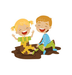 cute boy and girl sitting in a dirt hoodlum vector image