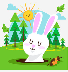 cute bunny in forest vector image
