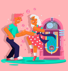 dancing people funny cartoon style happy men and vector image