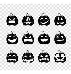 different pumpkins silhouettes collection vector image