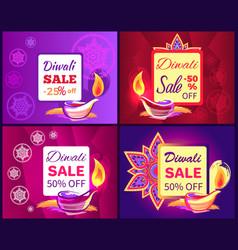 diwali sale set posters vector image