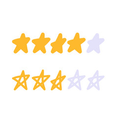 doodle stars rating icon set gold star icon set vector image