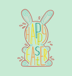 easter hare with a creative lettering inside vector image