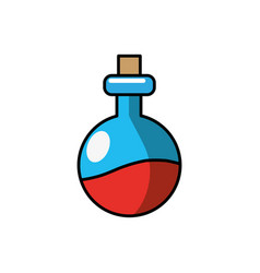 Erlenmeyer flak with chemical potion experiment vector