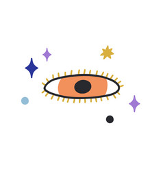Esoteric evil eye with eyelashes in doodle style vector
