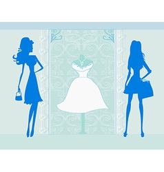 fashion silhouettes girls Shopping vector image