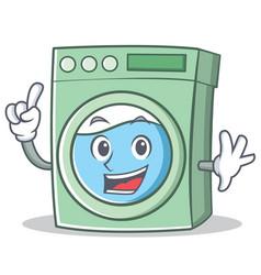 Finger washing machine character cartoon vector