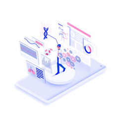 flat color modern isometric design - vr medicine vector image
