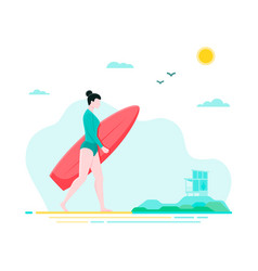 Flat with surfer girl walking on the vector