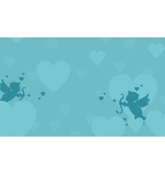 Flying cupid valentine landscape collection vector image
